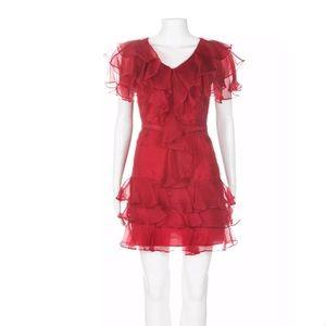 Rachel Zoe red 100% silk ruffle mini dress 0 party
